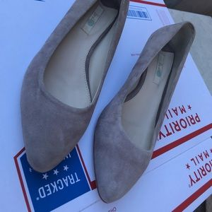 BODEN Gray Suede Leather Low Wedge Heels Flats 8